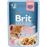 24 x 85 gr  Brit Premium Cat Delic. Fillets Gravy & Chicken Kitten