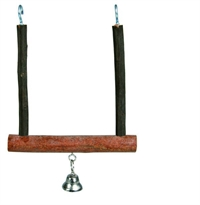 Fuglelegetøj Swing with bell bark wood 12 cm